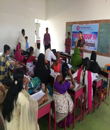 Free Coaching and Training on TNPSC Group –II services for the rural poor candidates in Trichy district of Tamil Nadu.