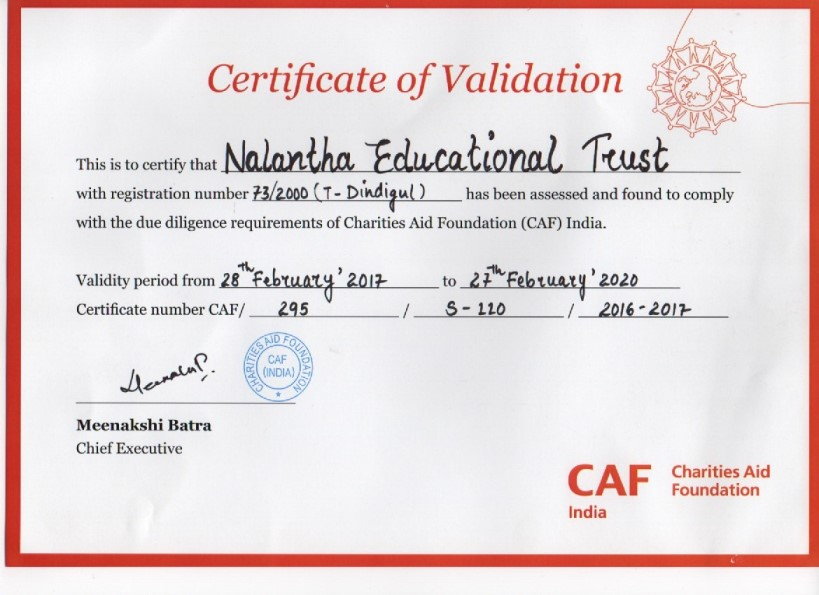 Charities Aid Foundation Validation Certificate